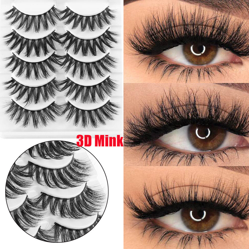 495ef9079a6 Details about -SKONHED 5 Pairs 3D Soft Mink Hair False Eyelashes Fluffy Long  Thick Cross Lash-
