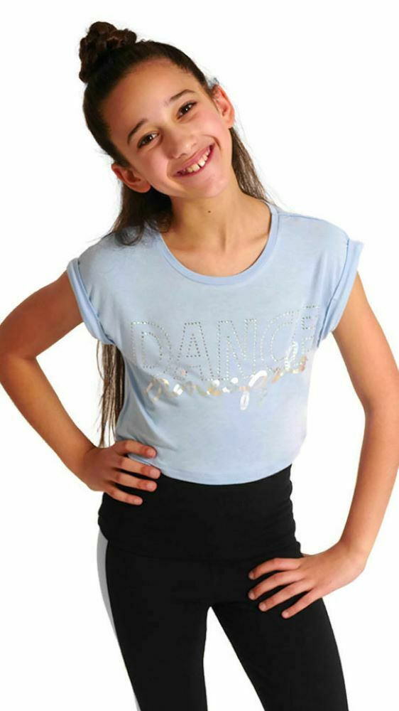 d3473958a7bc33 Details about PINEAPPLE DANCEWEAR GIRLS Double Layer Dance Tee Top  Blue Black Silver Diamantes