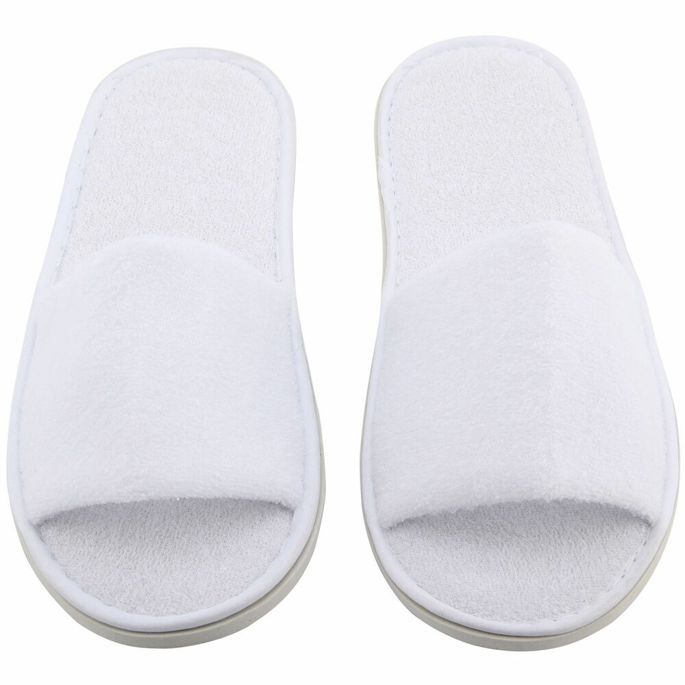 179d444df5f0 Details about White Hotel Guest   Spa Guest Slippers Open Toe Terry Cloth  Disposable 5 Pairs