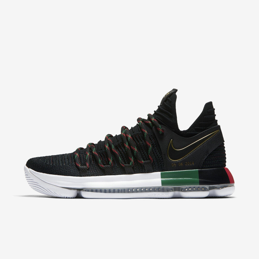 0bb25246ae2f36 Details about NIKE ZOOM KD 10 BLACK HISTORY MONTH BLACK WHITE GREEN RED MEN  SIZE 10 897817-003