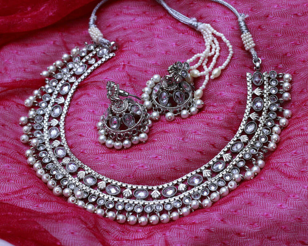 Details About Uk Indian Bollywood Antique Silver Sleek Pearl Necklace Earrings New Jewelry