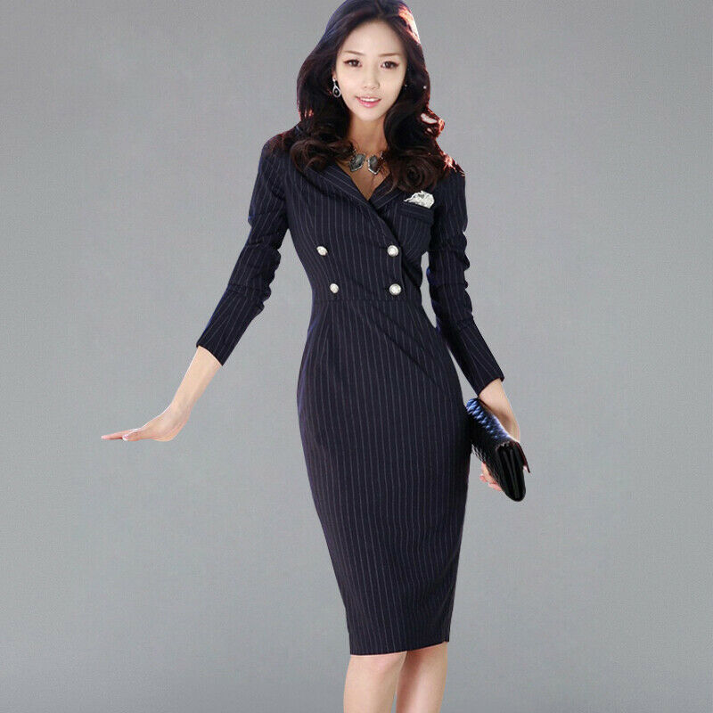 Details about Striped Suits Dress Women Work Pencil Bodycon Dresses Sexy  New Business Vestidos