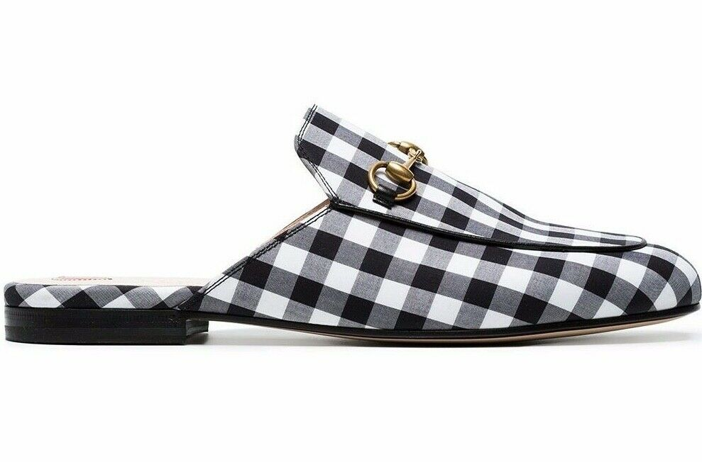 a59628118fa Details about Gucci Princetown Black White Plaid Check Slide Loafer Mule  Slipper Flat 37