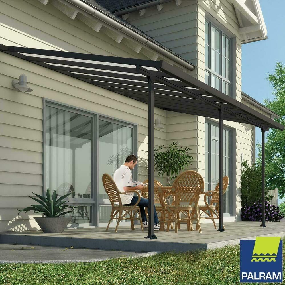 Details About Palram Feria Patio Cover Grey 3 X 5 46m Canopy Shelter Tent Outdoor Sun Shade