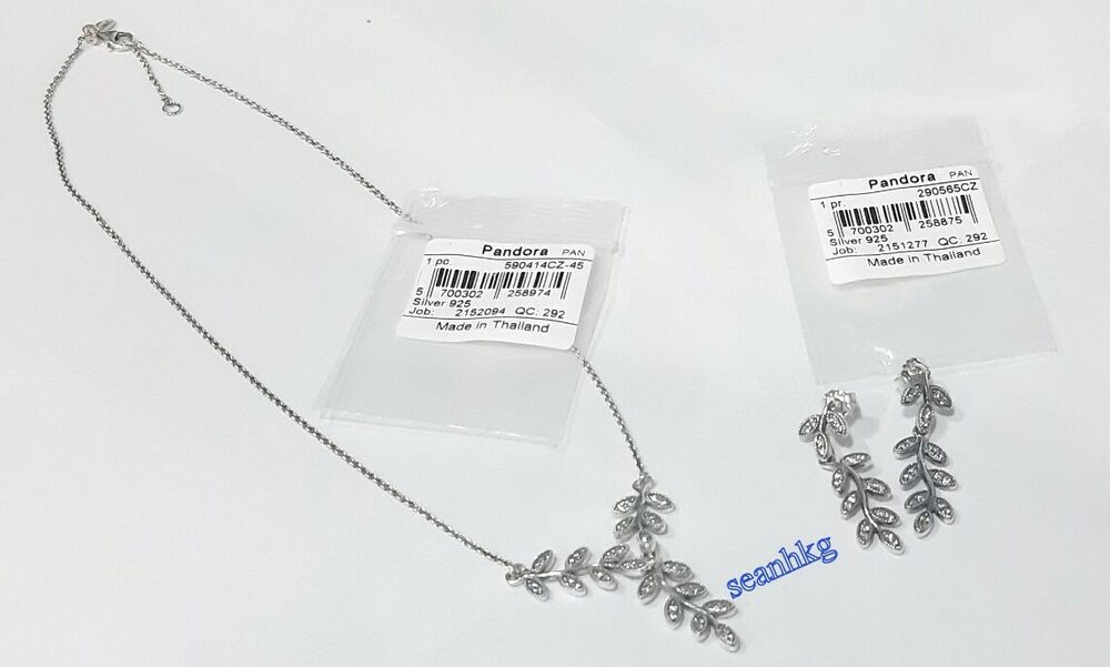4cf8ebd27 Details about Pandora Sparkling Leaves Necklace & Earrings 590414CZ-45 &  290565CZ Gift box