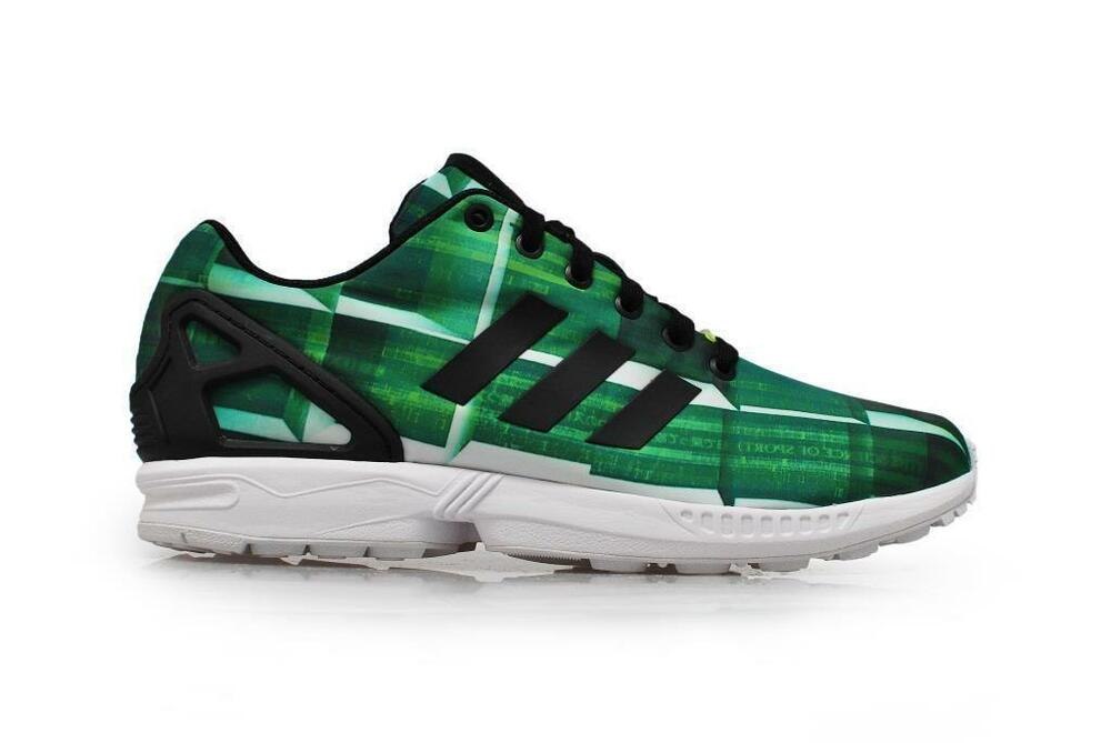 72611743ec98c Details about Mens ADIDAS ZX FLUX Green Nylon Trainers S31619
