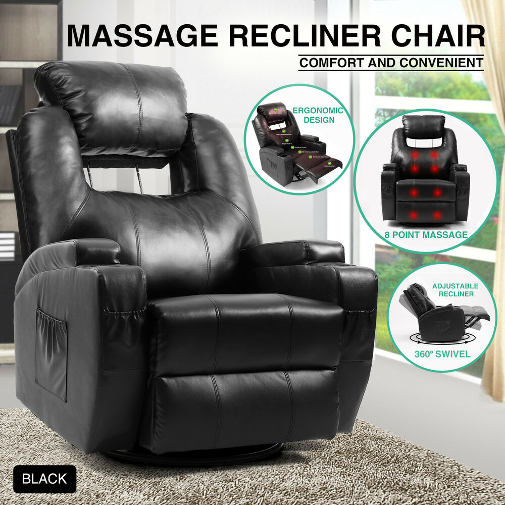 Details About Leather Massage Heated Recliner Sofa Vibrating Chair Lounge  360°Swivel CupHolder