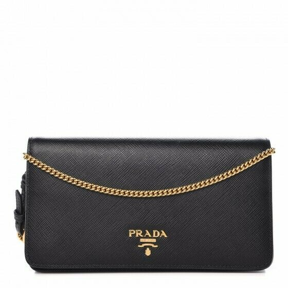 fc2e784aa3e2 Details about [AUTHENTIC] Prada Saffiano Crossbody Wristlet/Wallet Bag On  Chain - Black