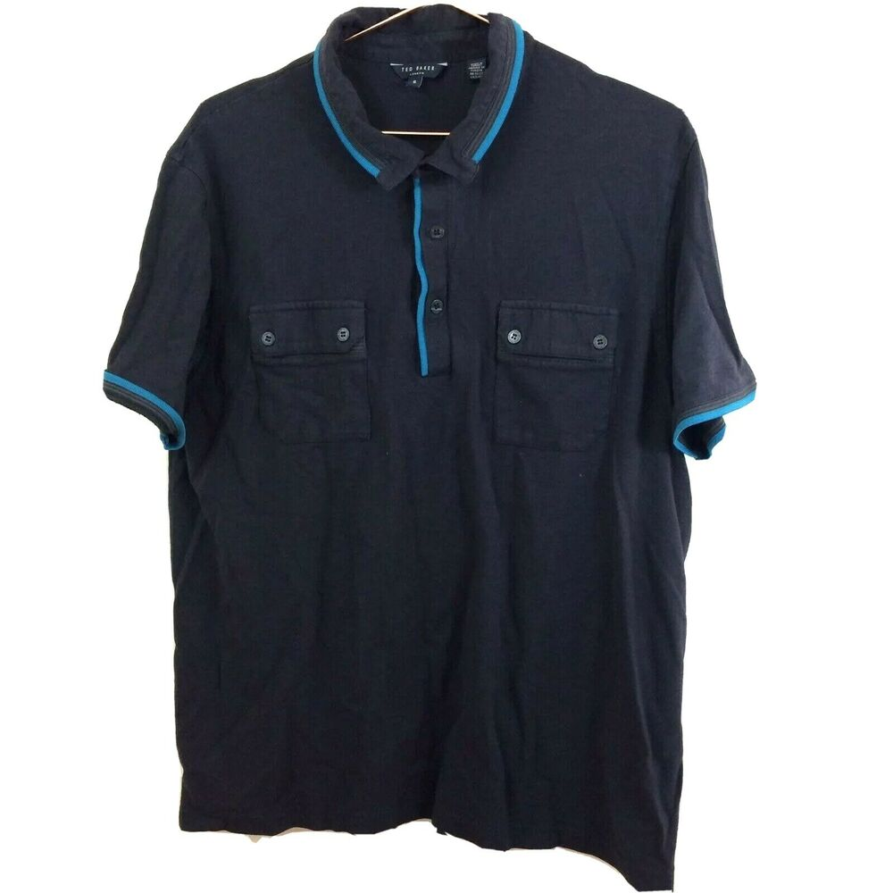 2ad95b1c0775c Details about Ted Baker Navy Men s Collared Short Sleeve Polo Shirt