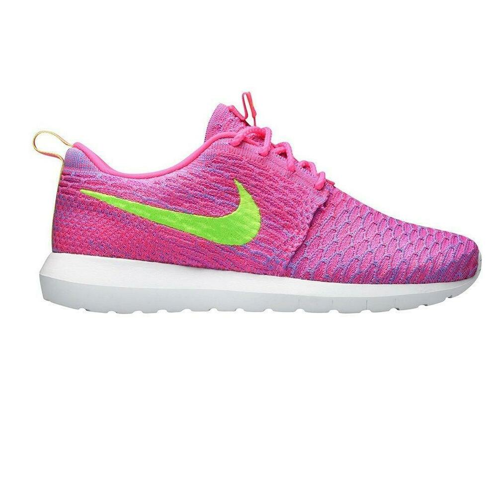 sale retailer f5b31 ba387 Details about Womens NIKE ROSHE NM FLYKNIT Pink Flash Trainers 677243 601