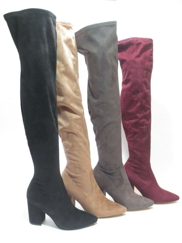 f256c1d5f07 Details about Steve Madden Rational Over the Knee Thigh High Heel Boots Tan    Burgundy   Black
