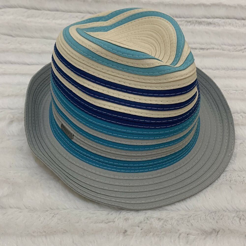 90c572da692 Details about Calvin Klein Women s Fedora Bucket Woven Blue Tan Striped Summer  Hat
