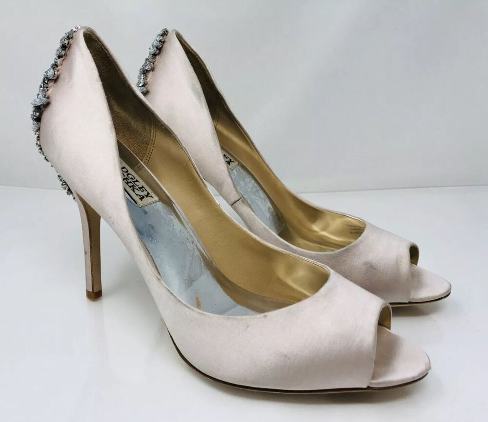 a26d1d2124d Details about Badgley Mischka Women s  Nilla  Peep Toe Pump Size 9 Light  Pink