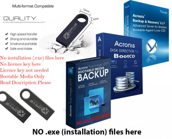Acronis True Image 2019 BOOTABLE Backup Restore to another Drive SSD on 8GB USB