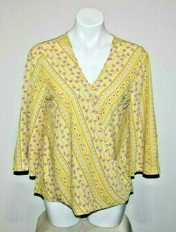 849e5817c20285 Details about NEW W5 Womens Yellow Floral Print Blouse Top Size M