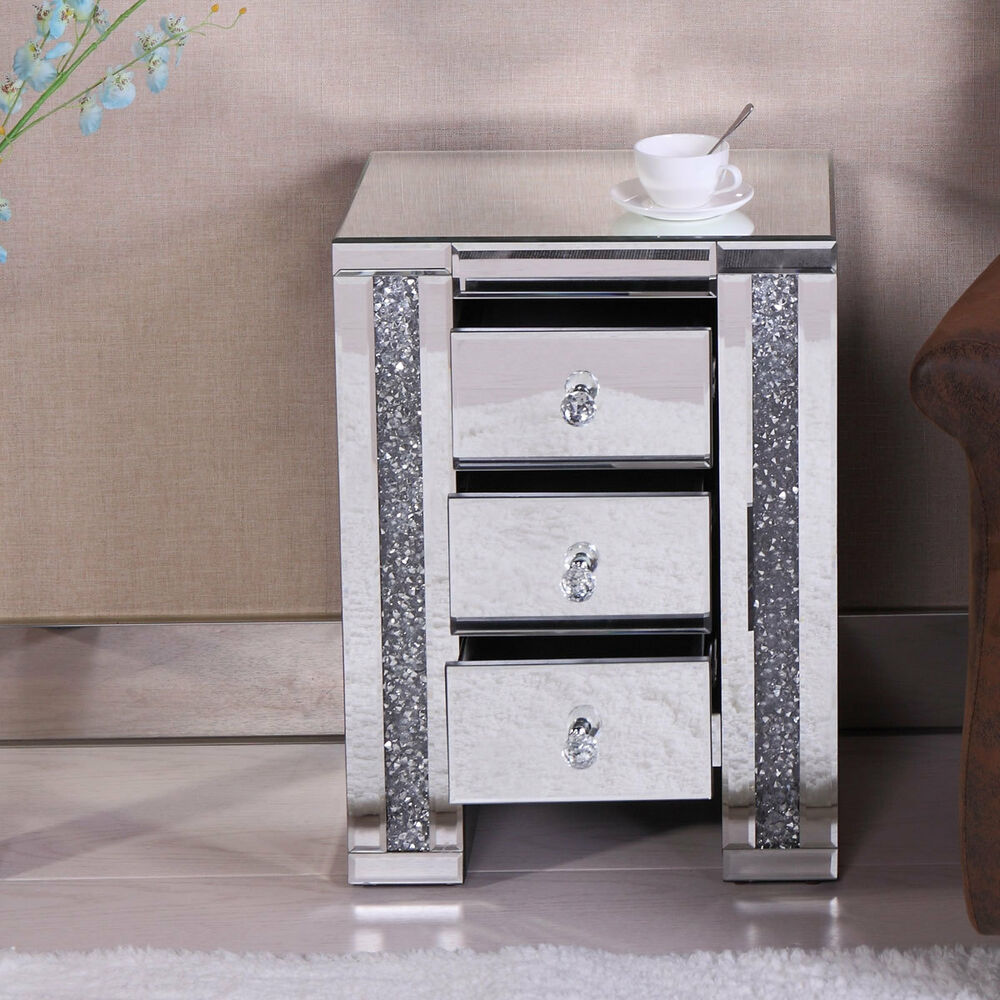 Details About Mirrored 3 Drawer Side End Table Nightstand Bedroom Furniture Bedside