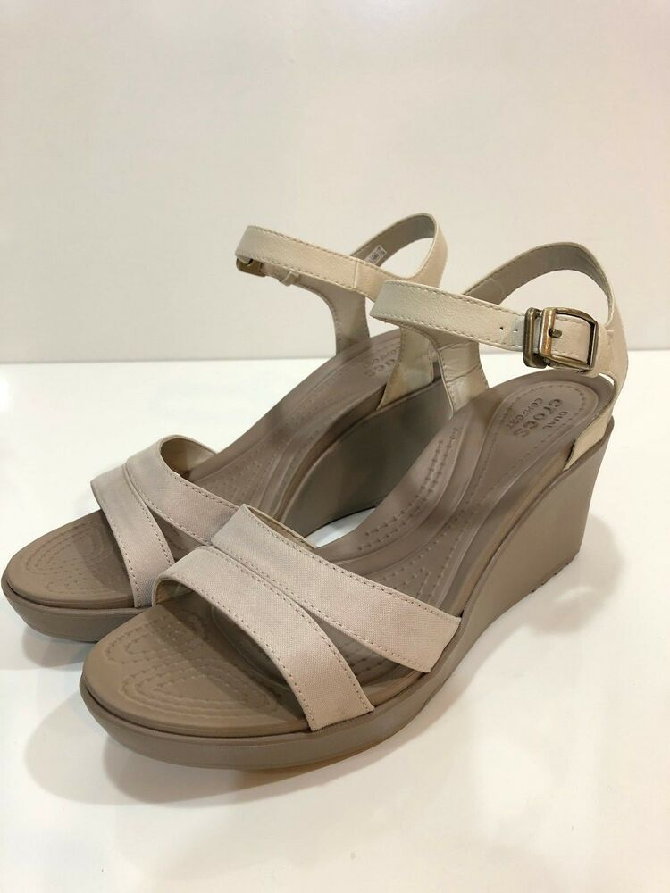 51336697b4 Details about Crocs Leigh II Women's Ankle Strap Wedge Sandal Shoes Size 11