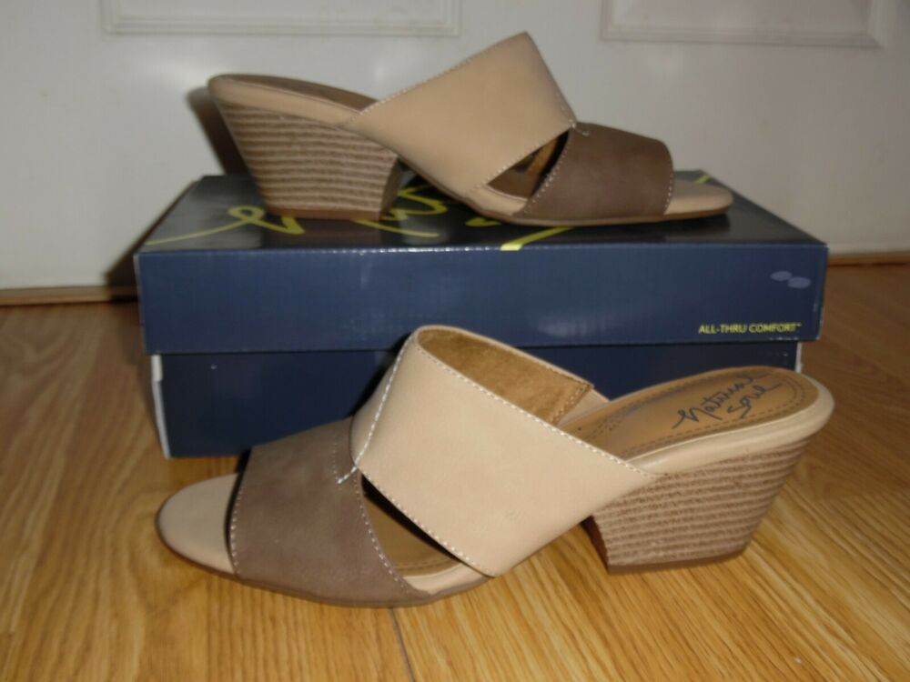 5d82be19207b NEW Natural Soul by Naturalizer Dedee Mushroom Buff Sandals Wedge Size 9.5  10 M
