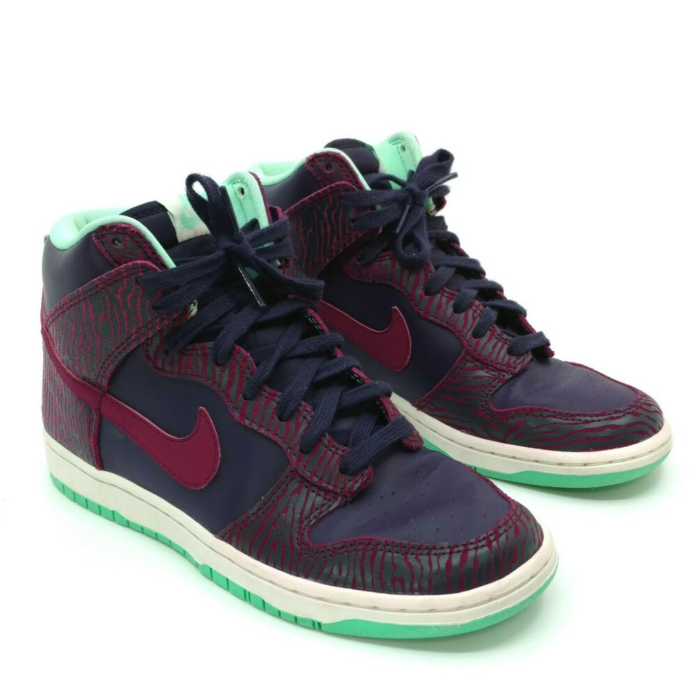 info for 10f0a 60ca5 Details about Nike Dunk Sky Hi Shoes Womens Size 7 Animal Print Purple  Raspberry 543242-500