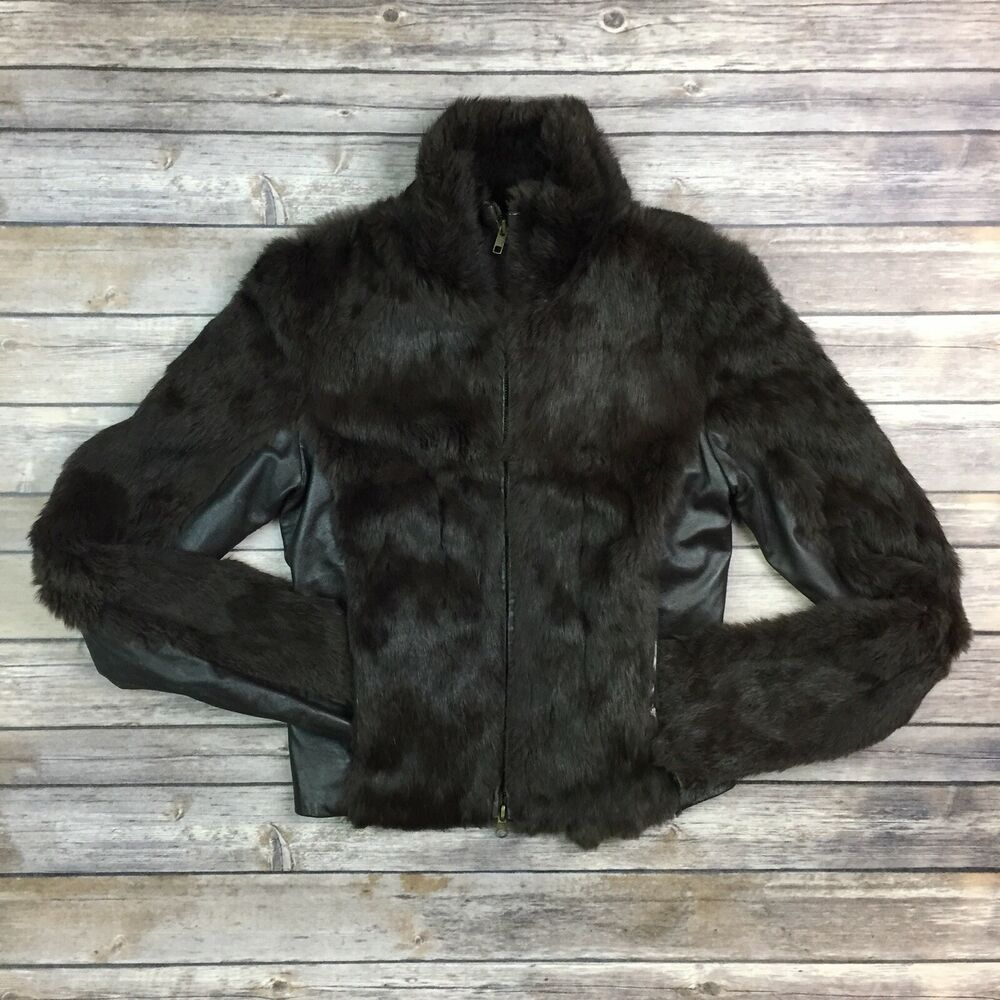 d22e1a1c53642 Details about  238 Bebe Women s Small Brown Rabbit Fur Leather Full Zip  Cropped Bomber Jacket