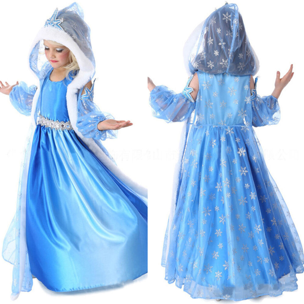 33c43dc26ff8a Details about Girls Kids Frozen Elsa Princess Dress + Fur Hooded Cape Cosplay  Costume Outfits