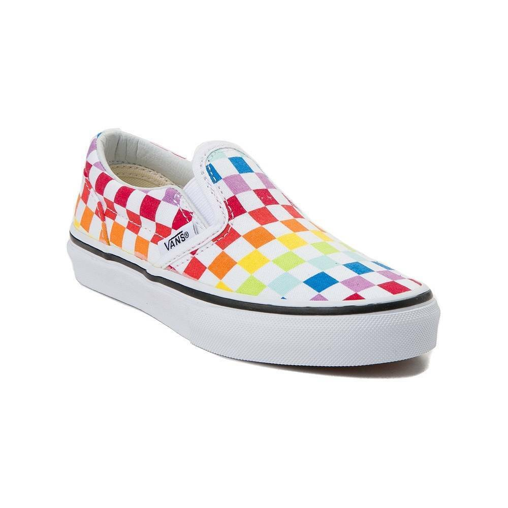78e5a5140b Details about NEW Youth Vans Slip On Rainbow Chex Skate Shoe Multi  Checkerboard Boys Girls