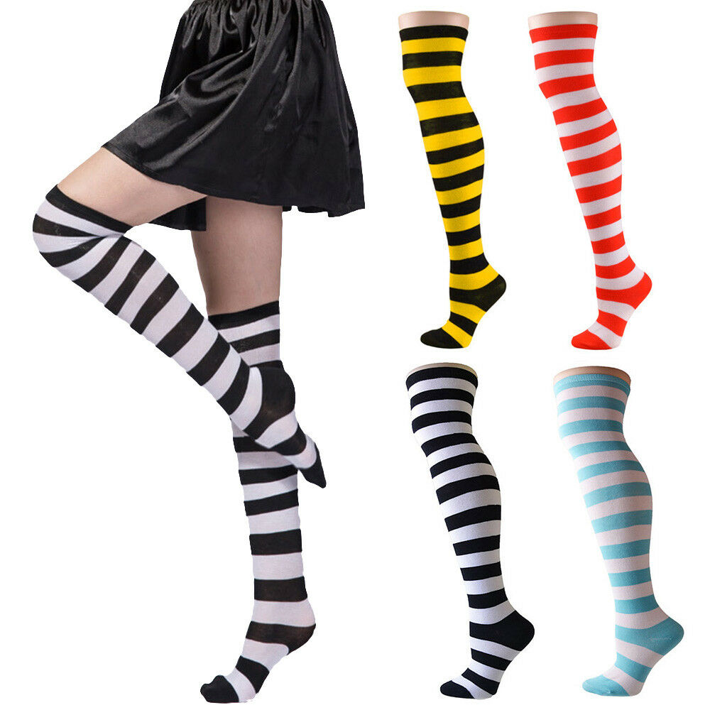 794f9f5e5 Details about Women Girl Sheer Striped Thigh High Stockings Plus Size Over  The Knee Socks
