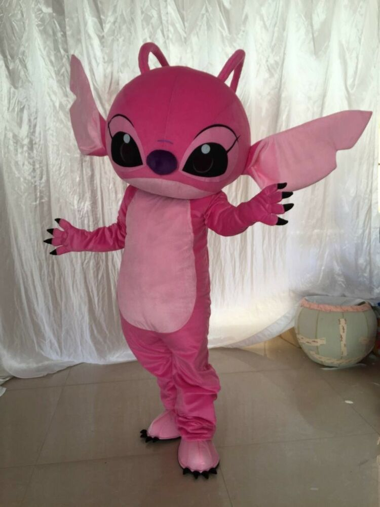 1e559b81986e Details about Pink Angel Mascot Lilo   Stitch Costume Disney Outfit Dress  Cosplay Adult Gifts