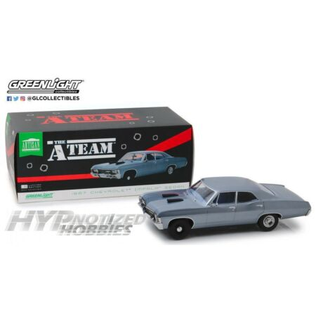 img-GREENLIGHT 1:18 THE A-TEAM 1967 CHEVROLET IMPALA SPORT SEDAN DIE-CAST BLUE 19047