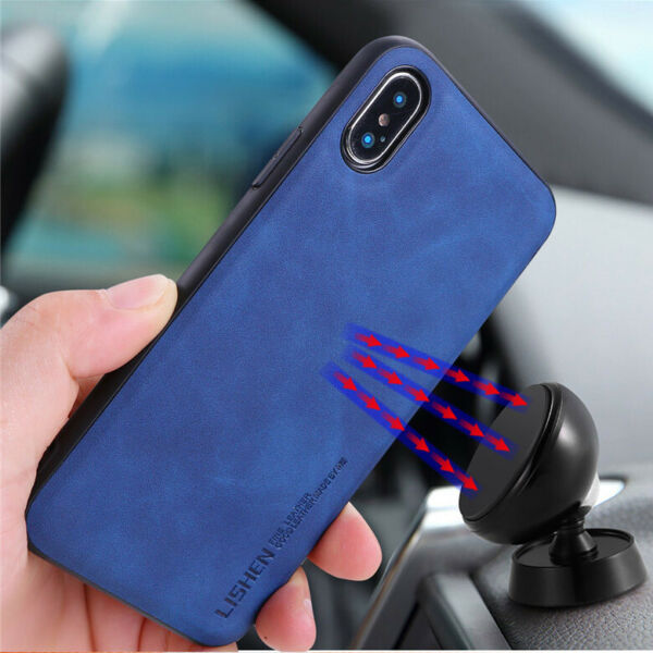 For iPhone 8 7 Plus Xr Xs Max Shockproof Hard Leather magnetic Phone Case Cover