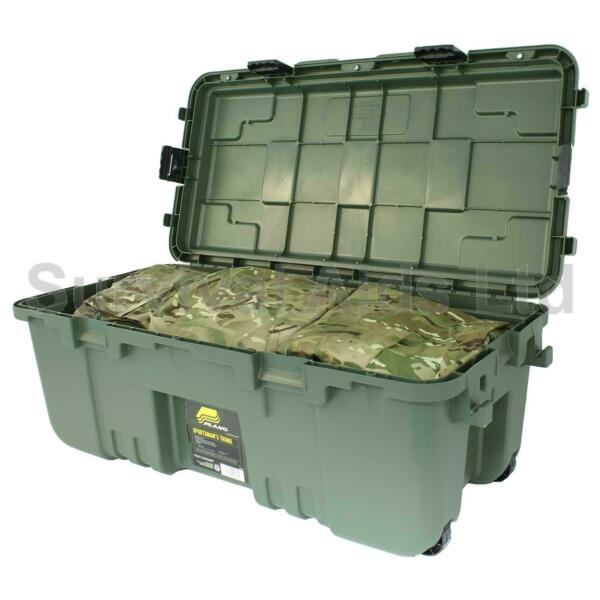 Large Wheeled Green Military Storage Trunk, Plano
