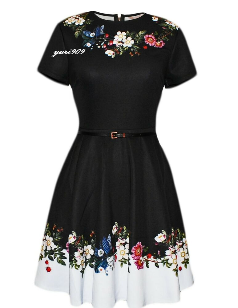 1fc6c7589 Details about Ted Baker Black Chestna Oracle Skater Casual Dress Size 1(US  4)