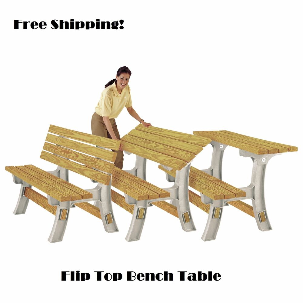 Details About Convertible Picnic Table Outdoor Bench Frame Fliptop Camping Patio Bbq Plastic