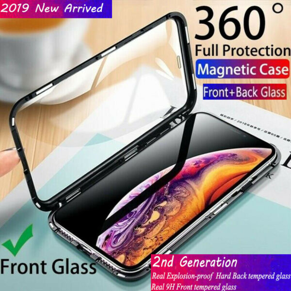 For iPhone XR XS Max Magnetic Adsorption Tempered Glass 360°Full Protective Case