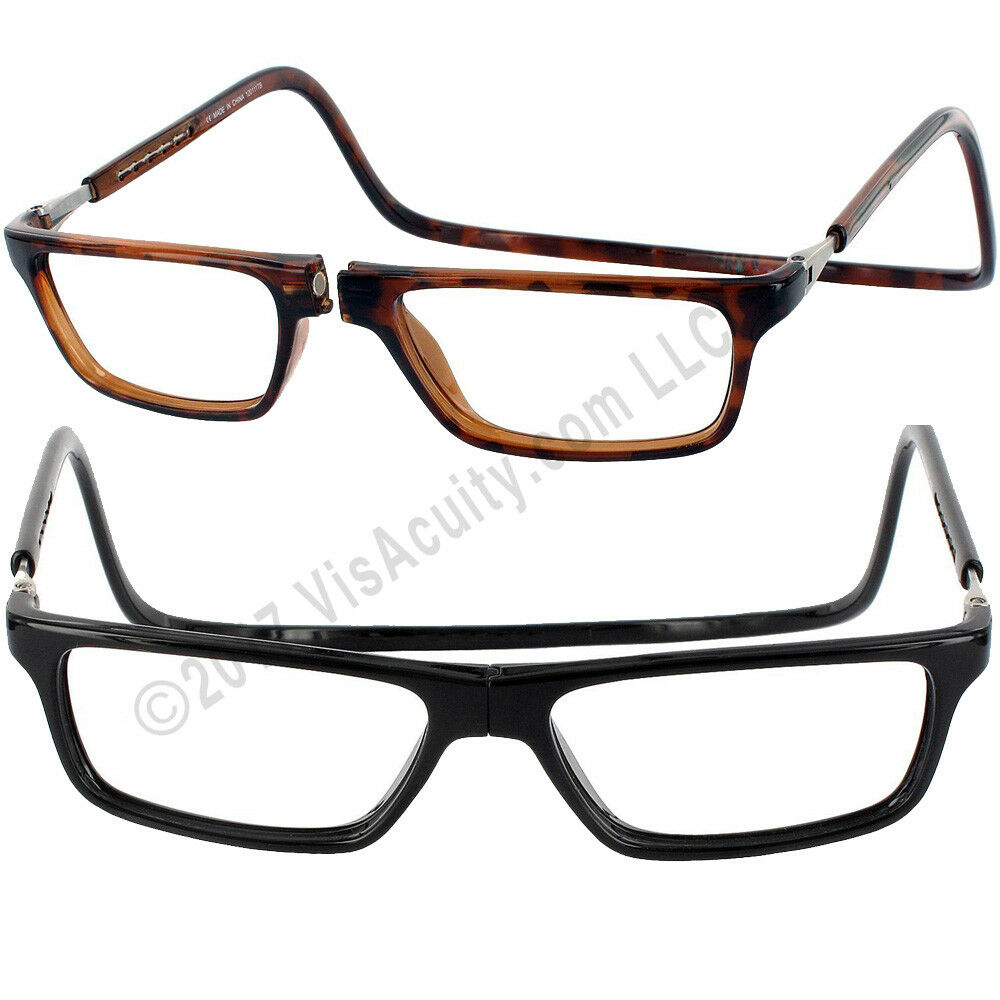 c09445bcf21 Details about CliC EXECUTIVE MAGNETIC Reading Glasses Tortoise or Black BIG  LENS 1.25 to 3.00