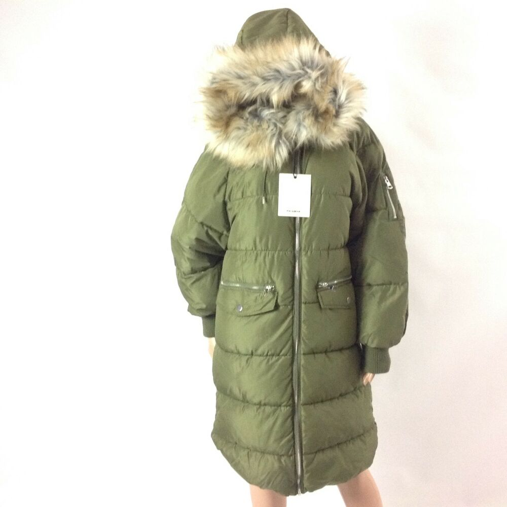 pull and bear women puffer winter jacket size l green long. Black Bedroom Furniture Sets. Home Design Ideas