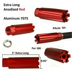 Kyпить 7075 Anodied Red Low Concussion 308 Muzzle Brake Compensator 5/8x24 на еВаy.соm