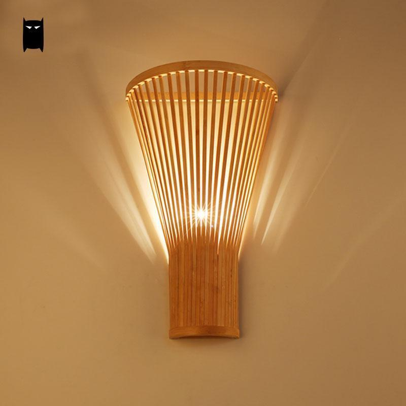 Details About Bamboo Wicker Rattan Shade Wall Lamp Fixture Asian Sconce Bedroom Hallway