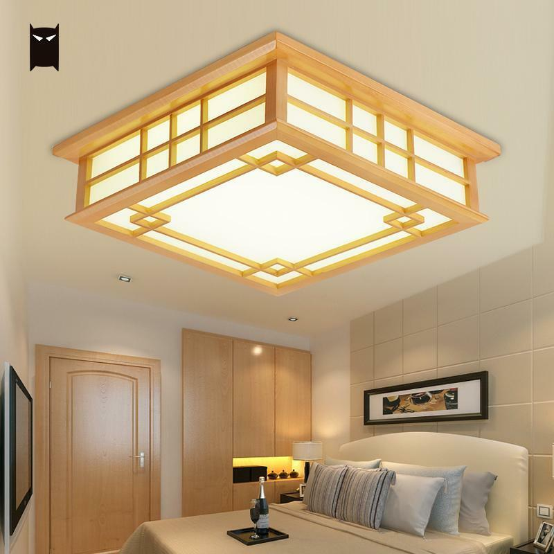 Details About Led Wood Square Tatami Ceiling Light Fixture Chinese Anese Grid Lamp Bedroom