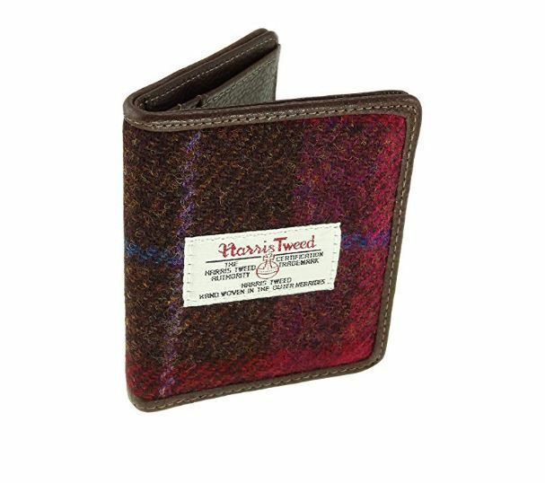 f249f9033ffa Details about Glen Appin Red Harris Tweed Card Holder Wallet