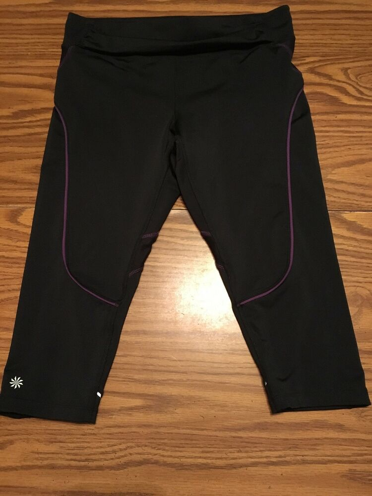 93fee6f269 Details about Athleta Quick Step Capri Cropped Yoga Workout Legging Back  Pocket Size M Black