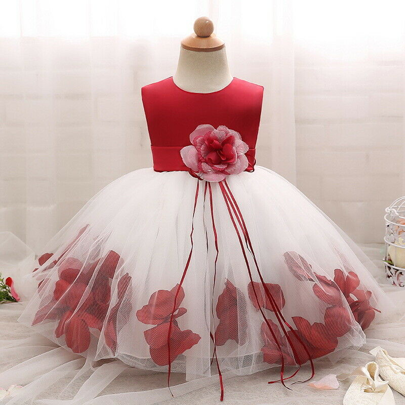 519c002af1 Details about Flower Dress for Baby Girl Petals Gown Christening Baptism 1st  Birthday Party