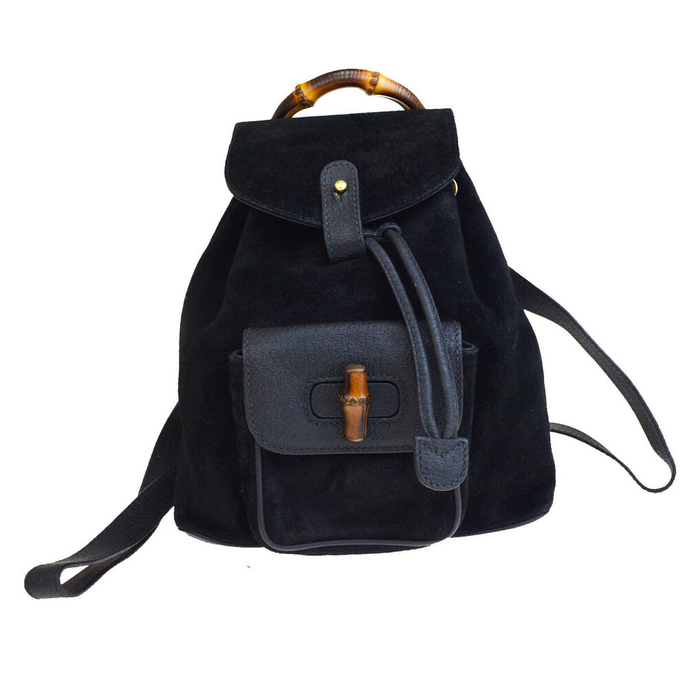 a6b4f30d5 Details about Authentic GUCCI Logos Bamboo Mini Backpack Bag Suede Leather  Black Italy 02EQ329