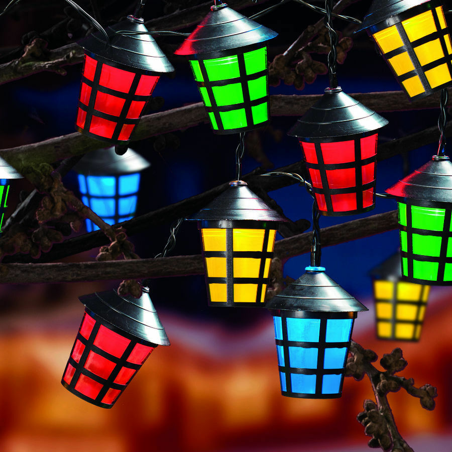 Details About 10 Led Christmas Lantern Lights Multi Coloured Mains Plug Indoor Outdoor 10led