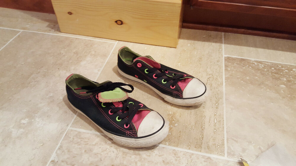 4d93217da4d6 Details about Junior Girls Sz 2 Double Tongue Converse Neon Pink Sneakers  Black Neon Pink Gree