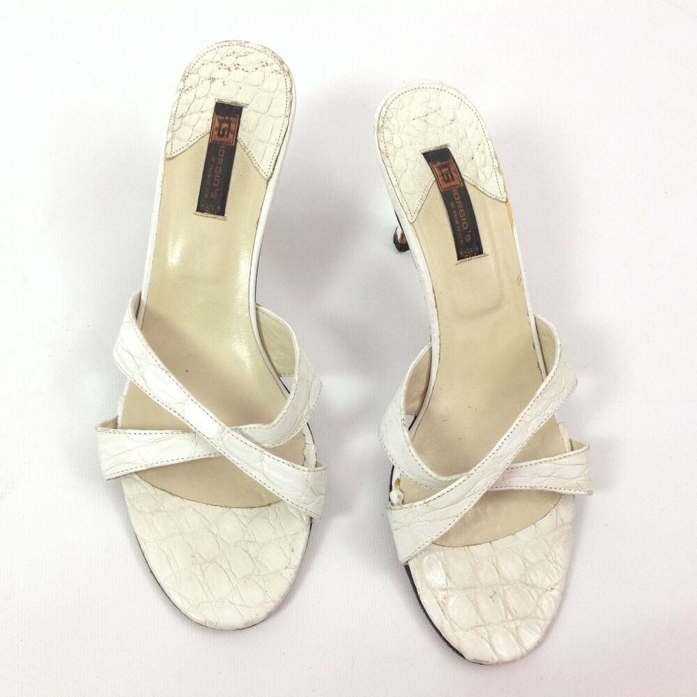 be6c30b78 Details about Giorgios of Palm Beach Womens Sandals Size 8 White Alligator  Made in Italy Heels