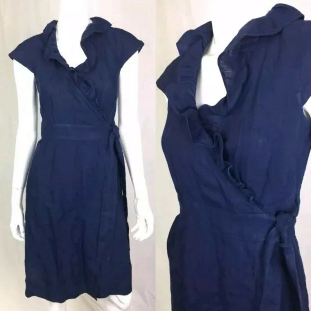 5f19cdcb994 Details about J.Crew Women s 2 Navy Blue Linen Asymmetrical Wrap Ruffle Shift  Dress