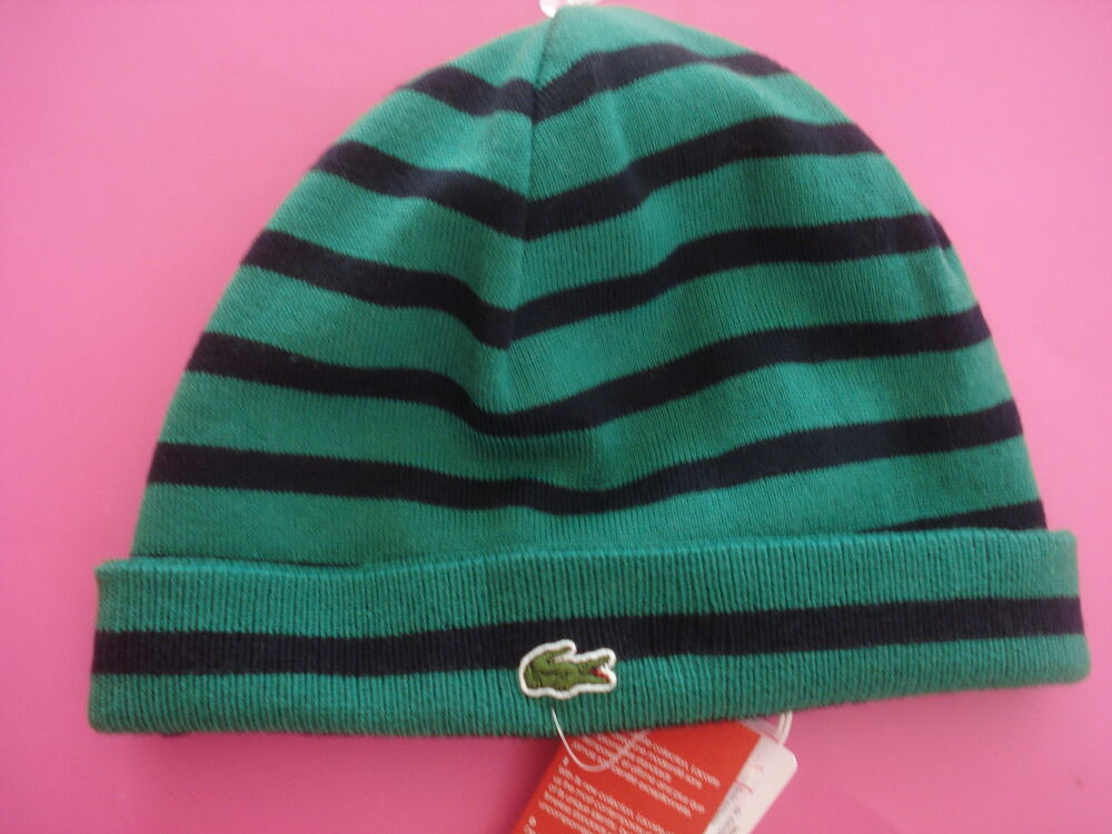 7cf02ac2b3 Details about MEN LACOSTE KNIT BEANIE HAT REVERSIBLE GREEN STRIPE ALLIGATOR  LOGO NEW WITH TAGS