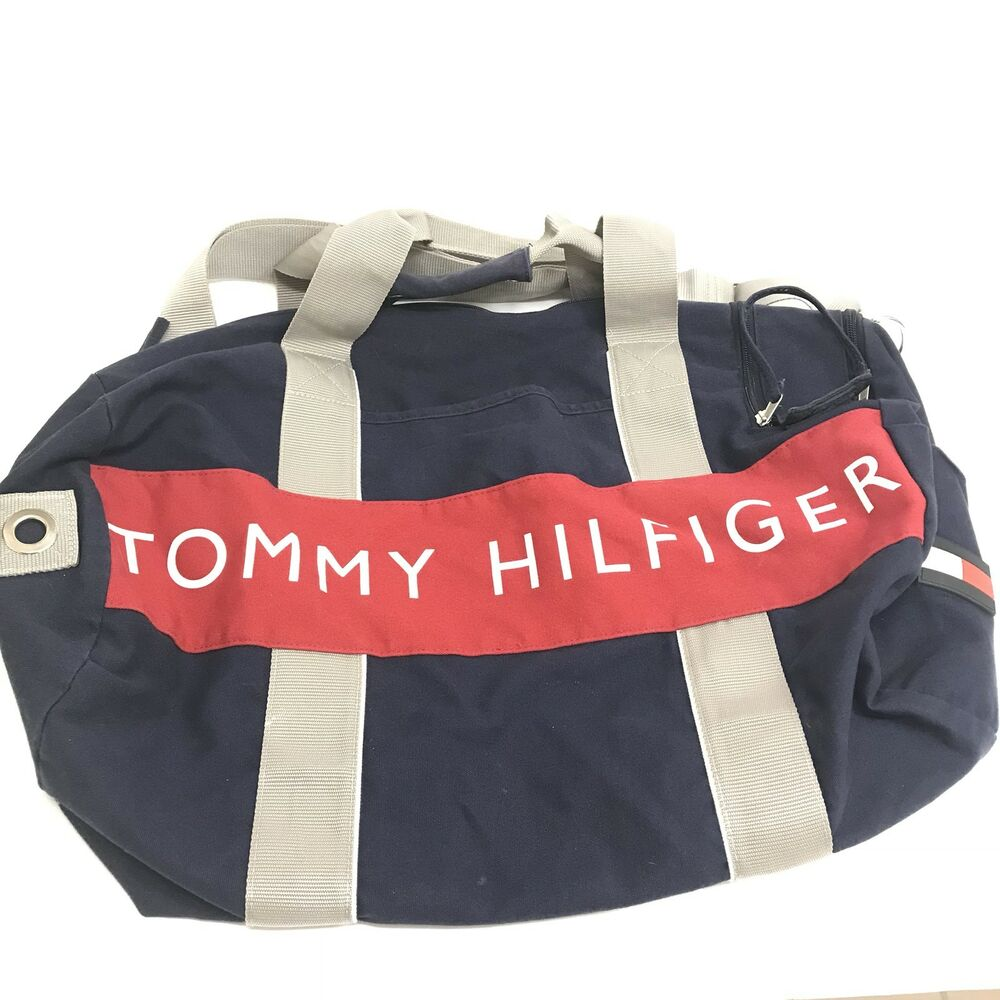 418347286916f3 Details about Tommy Hilfiger Large Gym Duffle Bag Vintage 90's Flag Spell  Out Box Logo Travel