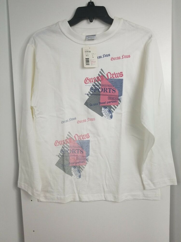 bf9c890365a3 Details about Rare 90s Vintage GUESS ? USA White Long Sleeve T Shirt Size  Kid Large Big Print